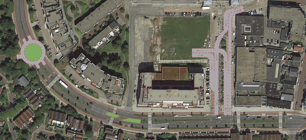 De omgeving van de Secretaris Verhoeffweg in Naaldwijk vanuit de lucht. Midden boven ligt de nog onbebouwde locatie van het Rentmeester-complex. De tekeningen geven duidelijk aan waar en hoe de Naaldwijkse 'parkeerpoort' zou moeten komen.