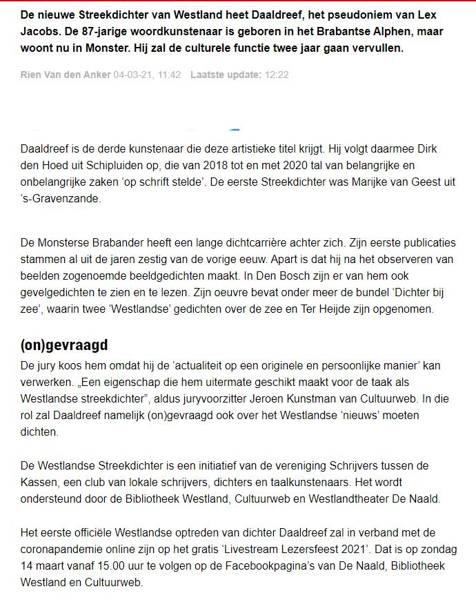 210304 Nieuwe streekdichter Daaldreef 2021